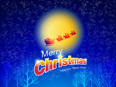 Merry Christmas and Happy New Year Typography on moonlight background with Santa Claus and reindeer in falling snow winter landscape and bokeh. Xmas Logo, card, poster,banner,web Vector File. Иллюстрация