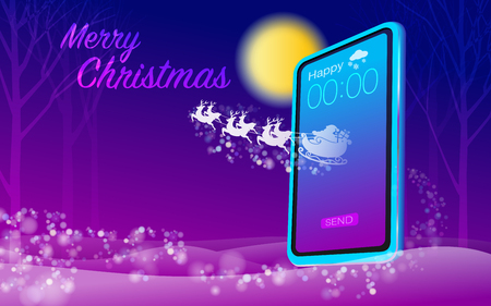 Send Happy Merry Christmas Messages With Modern Technology Vector EPS file.
