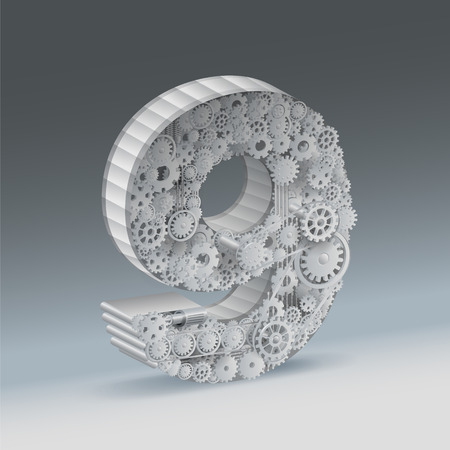 Industry Number 9 nine alphabet concept of industrial business. vector realistic file. Иллюстрация