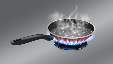 The boiling water in the pan is placed on a gas stove. Vector realistic file.