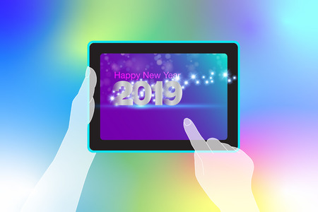 Happy New Year message via your tablet smartphone with unlimited modern technology. Vector EPS file.
