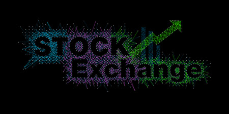 Fonts that reflect the volatility of the Stock Market graph and arrow on Black background. Businesses are up and down with the design of thick and thin lines. Vector EPS file. Иллюстрация
