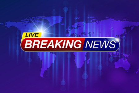 Breaking news, design, live report template on the world map background Vector illustration