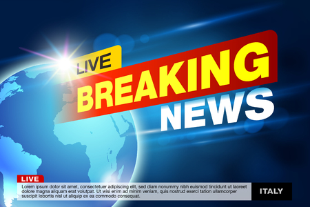 Report all events, urgent news all over the world. With a design template for the job News tv, breaking news, broadcast channel headline, news headlines, hotnews. Vector EPS file. Illustration