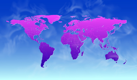 World map abstract vector and weather on blue, sea and cloud.