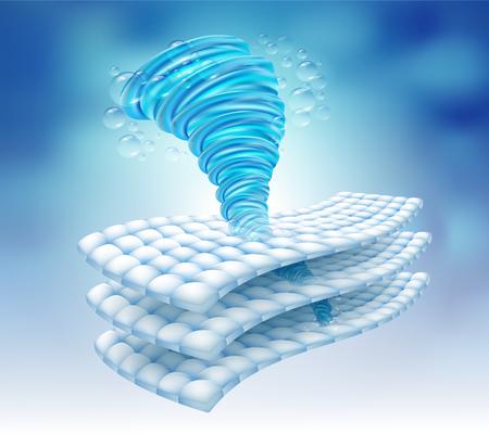 Energía del agua girando en la fibra de la tela. Elimina las manchas profundas hasta en 3 capas. Vector.