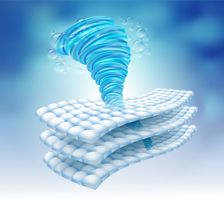 Water power rotating in the fabric fiber. Remove deep stains up to 3 layers. Vector.
