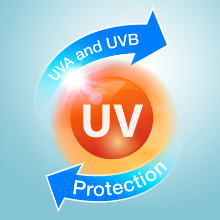 UV protection icons are used to advertise sunblock, lotion, serum, skin care cream, cosmetics or liquid. Vector Realistic file.