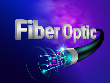 The most powerful and modern digital fiber optic technology Communicate the future world. Vector realistic File Illustration