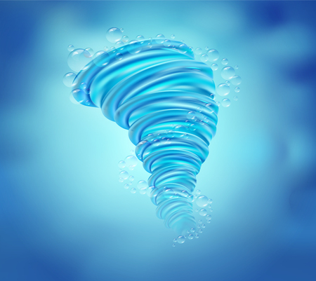 The power of the water rotates like a tornado on the sea color background. Vector realistic file. Иллюстрация