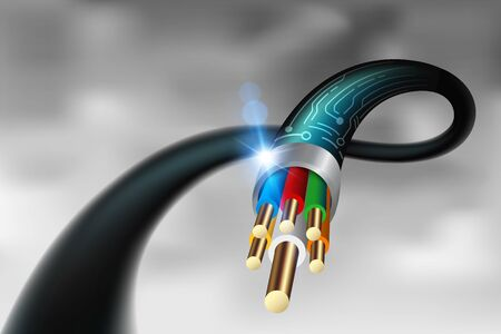 High-power cable in the future. Vector realistic file. Çizim