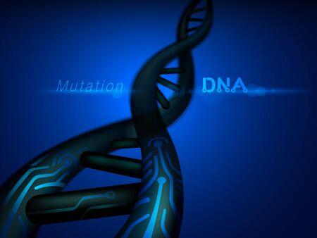 Digital DNA mutation structure. Vector realistic file.