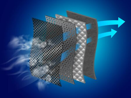 Dust filter layer Smoke and dirt With special material layers Helps in air purification Vector realistic file. Vektoros illusztráció