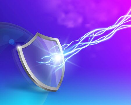 Glass shield with double protection and lightning. Concepts. Advertise toothpaste, sunscreen, virus, firewall, house paint. Vector realistic file.