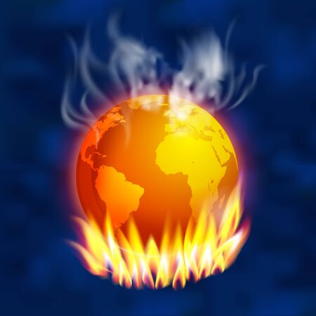 Global warming and smoke cover the world From the greenhouse condition. vector realistic file.