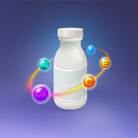Realistic vitamin plastic bottle With a multicolored light circle surrounded by essential vitamins and minerals Vector creative design with a clear glass capsule, vitamin, tablet, Mock Up Illustration