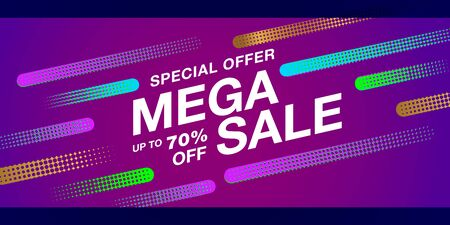 Special offer final sale banner on modern graphic halftone background, up to 70 percent off.  Vector EPS file.