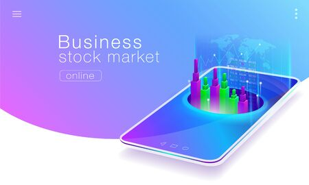 Technology of the global stock market business on mobile phones. Vector eps10.