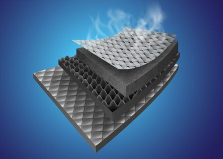 Insulation layer material Show details of many types of materials that are heat-resistant, moisture-resistant. Vector Realistic file. Illustration