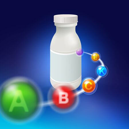 Vitamin tablets ran into a white plastic bottle at shallow depths.