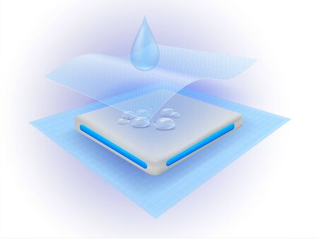Water droplets and moisture collector sheets with many materials. Vector realistic file.