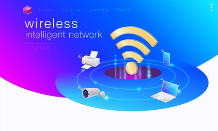 Wireless intelligent network communication with computers, laptops, tablets, printers, security cameras, and smartphones. Use commands to work remotely via telephone. Illusztráció