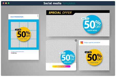 Sales banner set for social media template design Square web banner promotion for online shopping, social media, mobile apps.