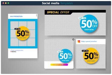 Sales banner set for social media template design Square web banner promotion for online shopping, social media, mobile apps.