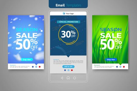 Email sales set for social media template design web banner promotion for online shopping, social media, mobile apps.