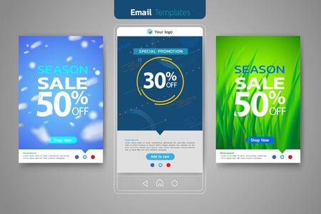 Email sales set for social media template design web banner promotion for online shopping, social media, mobile apps.