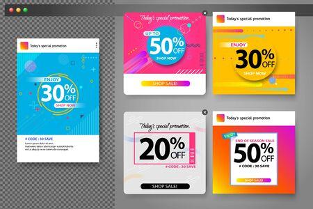 Minimal sales banner set for social media template design Square web banner promotion for online shopping, social media, mobile apps. Illustration