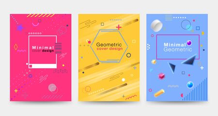 Minimalist cover design with colorful geometric shapes on the White background Modern, beautiful, simple and clean. Use in banners, posters, flyers, brochures, books etc. Vector design template.
