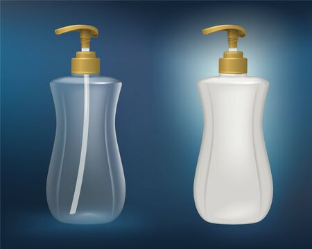 White plastic and clear plastic bottles Mock up for soap, shampoo, hair conditioner, dishwashing liquid and other liquids. Vector realistic file.