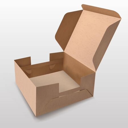Recyclable paper box with a lid open on a white background For gift box products, premium boxes, green boxes, food boxes Realistic vector file