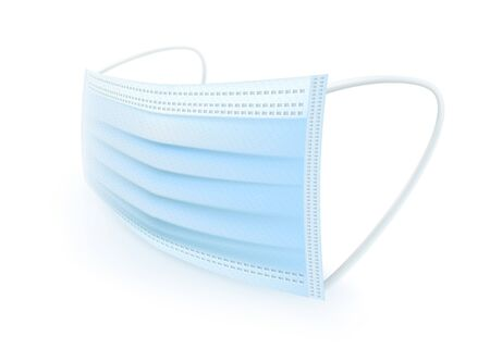Protective mask with ear strap Cover mouth and nose, preventing dust, odor and various germs. Realistic vector file.