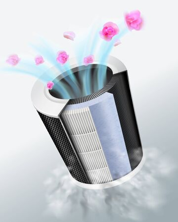 Filters for air purifiers that provide high efficiency in air purification Consisting of 3 filters, coarse filter layer, carbon filter layer, fine filter layer Can filter dust, germs, fragrant fresh.