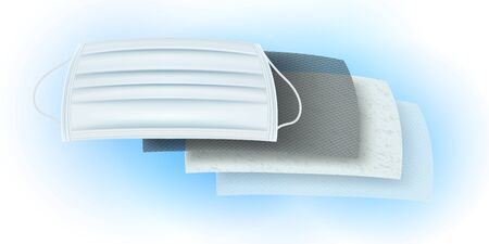 Details of filter materials for anti-virus and dust proof masks. Carbon layer coated with antiseptic, anti-bacteria and odor. Fine fiber layer, dust, ozone layer to create fresh air. Illustration