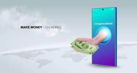Make money online with a smart phone business concept. Sell online, transfer money, make payments, make deposits, work anywhere in the world. 矢量图像