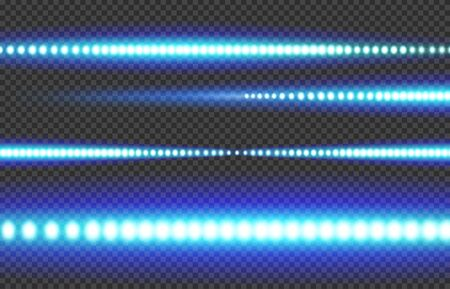 Blue white glowing LED light strip on a transparent background. Illusztráció