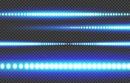 Blue white glowing LED light strip on a transparent background. Illustration