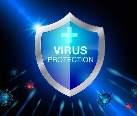 Shield for Coronavirus protection. Realistic file.