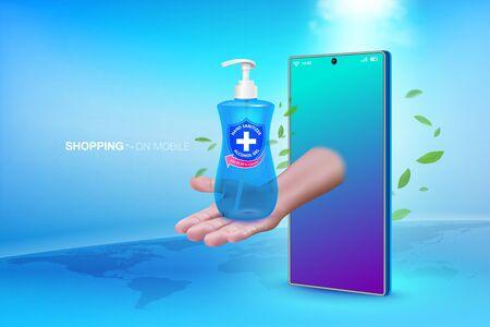 Alcohol handwash liquid online on mobile phone. Realistic file