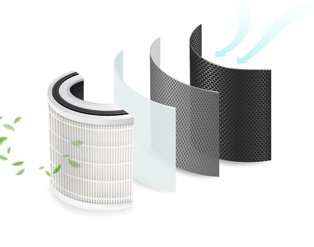 4 layers of clean air filters and sanitizing materials. Filter pollution, viruses, bacteria, PM2.5, dust,Car air conditioner. Air purification system to be safe from the corona virus. Realistic file. Illustration