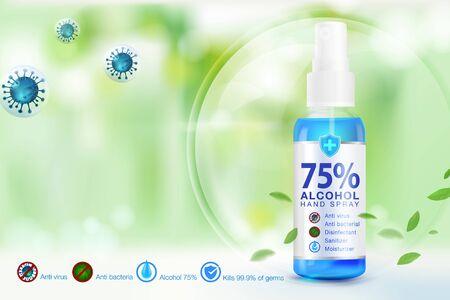 Le désinfectant pour les mains vaporise 75% de composants d'alcool, tue jusqu'à 99,99% des virus, bactéries et germes covid-19, emballé dans des bouteilles en plastique transparentes utilisées pour pulvériser des parties du corps contre le virus Corona.