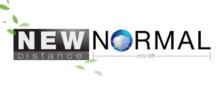 Banner design for New normal concept word and distancing people to protect Coronavius (Covid-19) and other epidemics. 矢量图像