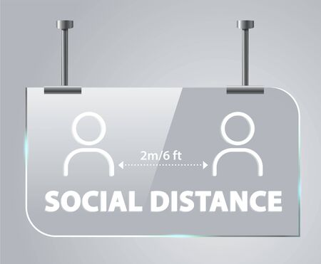 Social distancing of 2 meters / 6 feet distance. Social concepts to reduce the risk of infection Coronovirus epidemic protective.