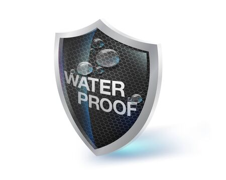 The shield icon represents materials that are waterproof, moisture and heat resistant on a white background. Future waterproof technology concepts. Fabrics, artificial leather, metals, special paints. Illustration