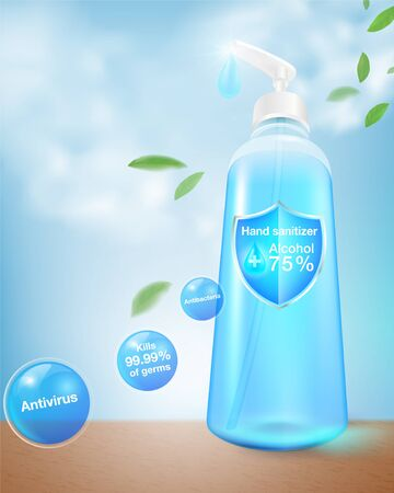 Hand sanitizer alcohol package 75% alcohol component, kills up to 99.99% coronavirus, covid 19, bacteria and germs. packed in a clear plastic top-press bottle. Realistic file. Illustration