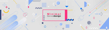 Minimal geometric simple banner template with patterns square modules colored geometric composition on white background.