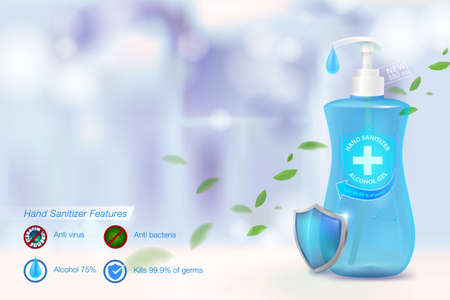 Hand sanitizing alcohol gel 75% alcohol components, kill up to 99.99% of covid-19 viruses, viruses and all germs. On a blurred blue background Packed in a clear plastic bottle.Advertising media.